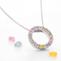 Round pendant with multicolor sapphires model nr. 0230