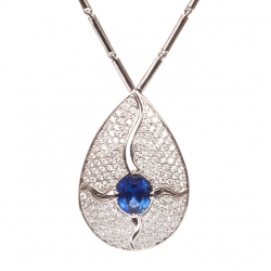 Luxury Necklace Drop with Blue Sapphire