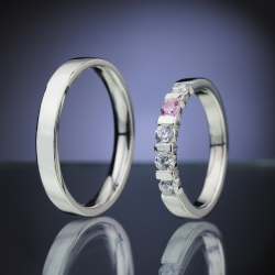 Wedding Rings with Diamonds and Sapphire model nr. SN84