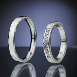 Wedding Rings with Diamonds a Sapphire model nr. SN85