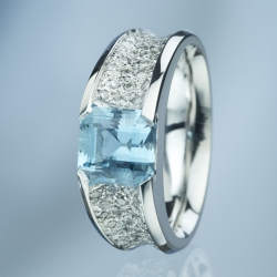 Ring Aquamarine Square