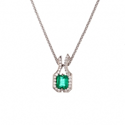 Emerald Pendant with Diamond