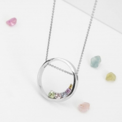 Pendant round with multicolor sapphires model nr. 0232