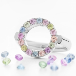 Ring Circle with Multicolor Sapphires model nr. 0170