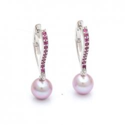 Earrings with faceted pearls model nr. N0062