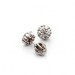 White Gold Earrings with Diamonds - Flower model nr. 0024