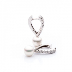 Pearl Earrings with Diamonds model nr. 0069
